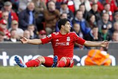 22nd April 2012: Luis Suarez appeals in vain as Liverpool had chance after chance to put the game to bed, and failed on every attempt. Almost 30 in total. At this stage, Liverpool fans would be happy to make the Europa Cup.