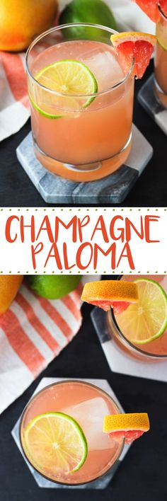 This champagne paloma is a tart, tequila-based cocktail with fresh grapefruit and lime juices, as well as champagne for fizziness and a hint of sweetness! A delicious citrus cocktail.