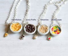 Polymer Clay Charms Food, Minis Food, Bowls Necklaces, Polymer Clay Food Miniatures, Cereal Bowls, Cheerios Fruit, Miniature Food, Polymer Clay Miniatures ...