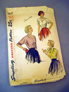 This vintage Simplicity womens blouse pattern 2831 is from the 1940s. It is cut…