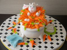 Bunny Cake - so cute for Easter! Easter Bunny Cake, Easter Treats, Food Cakes, Fondant Cakes, Cupcake Cakes, Cupcakes, Beautiful Cakes, Amazing Cakes, Rabbit Cake