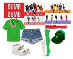"""""""Red Velvet - Dumb Dumb"""" by marissa-malik ❤ liked on Polyvore featuring We Love Colors, Wet Seal, Windsor Smith, INC International Concepts and American Needle"""