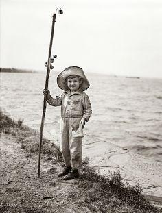 .1930's child fishing