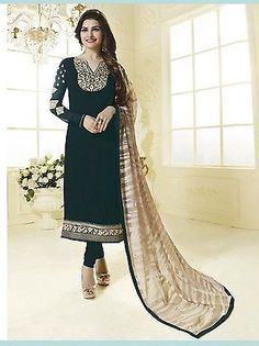 INDIAN SALWAR KAMEEZ SUIT EMBROIDERYPAKISTANI BOLLYWOOD DESIGNER DRESS MATERIAL in Clothes, Shoes & Accessories, Women's Clothing, Dresses | eBay