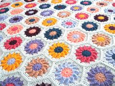 Ready to ship Handmade, Hand Crocheted Flower hexagon afghan  / throw / blanket. Free US shipping.
