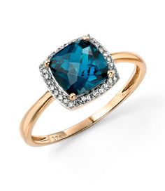 London Blue Topaz Checkerboard Ring