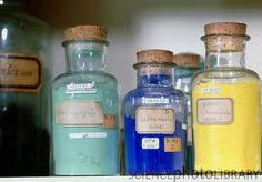 Glass bottles of artists' pigments