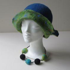 Blauw/groene hoed
