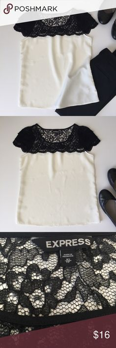 """❣️SALE❣️EXPRESS SZ XS❤ This is a size XS, Express top/blouse. It's black and an off white/cream in color. Top of the shirt and sleeves are black lace. Never worn. Lying flat it measures 6"""" from underarm to underarm, top of the shoulder to bottom of the shirt 22.5"""", bust area 17"""" and waist area 18"""". ⭐️FINAL PRICE UNLESS BUNDLE DISCOUNT APPLIES Express Tops Blouses"""
