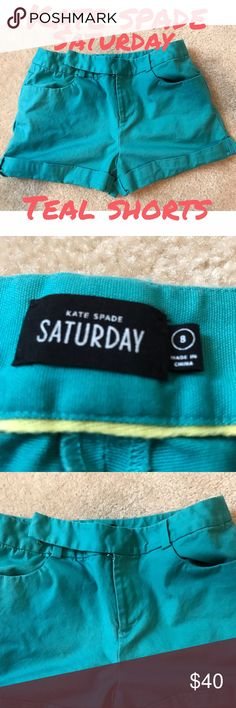 🆕 Kate Spade ♠️ Saturday teal shorts Kate Spade ♠️Saturday teal shorts with cuffs at bottom with 2 pockets in front and 2 in back...EUC.. about 15 in flat at waist..about 6 in rise..about 6.5 in inseam (about 5 in to top of cuff)...perfect for summer!! (4/19/17) kate spade Shorts
