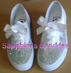 Wedding Bridal Pumps Customized AB Crystal Ribbon White Vans Size 3 4 5 6 7 8
