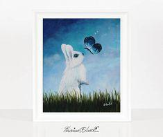 A Tender Moment In The Garden White Rabbit & Butterfly Art