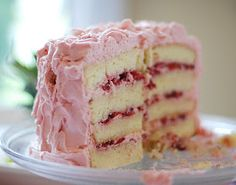 """This is one of my favorite """"fancy"""" cakes for special occasions. Perfect for spring and summer as it is so light and fresh tasting. Vanilla Cake with Strawberry Cream Frosting 12 servings Ingredients: Strawberry Vanilla Cake, Strawberry Recipes, Strawberry Frosting, Strawberry Cheesecake, Strawberry Shortcake, Cake With Strawberry Filling, Blackberry Cake, Strawberry Preserves, Cheesecake Cake"""