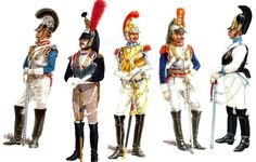From left: Bavarian Cuirassier – French Cuirassier – French Carabinier – Polish Cuirassier – Russian Cuirassier.