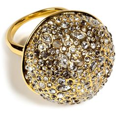 ALEXIS BITTAR Crystal Encrusted Gold Sphere Ring ($210) ❤ liked on Polyvore