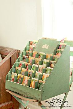 Lovely green card display unit.
