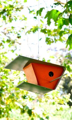Modern BirdhouseOrange finish by CerolaStudios on Etsy, $150.00  #modern #birds