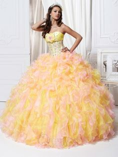 Precioso vestido de quince en rosa y amarillo - Amazing fifteen dress in pink and yellow