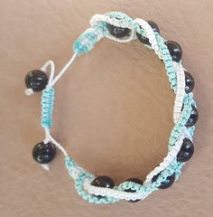 Turquoise, White and Black Intertwining herringbone macrame bracelet by KalaaStudio on Etsy