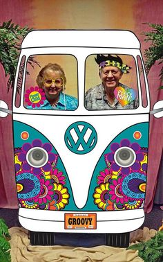 Hippie Car Photo Booth Backdrop - Printable - - Pertaining To Hippie Party Decorations - Best Home & Party Decoration Ideas 60s Party Themes, 70s Party Decorations, 60s Theme, Ideas Party, Party Party, Disco Theme Parties, Dance Decorations, Party Drinks, Decor Photobooth