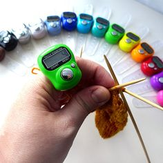 This digital row counter is the perfect accessory for hands free counting while you knit or crochet. No more stopping to make a mark on a piece of paper or cranking a manual row counter. The adjustable rubberized band makes this counter like a mini watch for your finger! The electronic