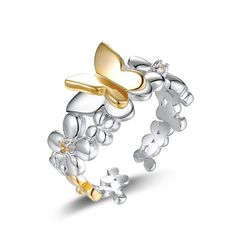 S925 Sterling Silver Genuine Topaz Flower and Gold Butterfly Women Open Ring ,adjustable