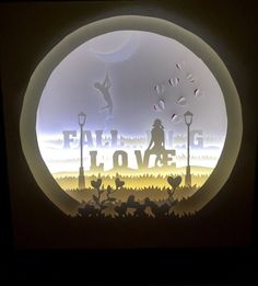 Fall...in...g love, handmade, paper cut light box by Artboxvn on Etsy