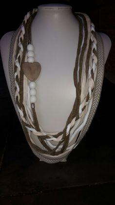 T-shirt Yarn necklace. Toetsie's Trinkets facebook Jeandre Fullard Yarn Necklace, Fabric Necklace, Scarf Jewelry, Fabric Jewelry, Beaded Jewelry, Shirt Scarves, Scarf Shirt, T Shirt Yarn, Scarfs