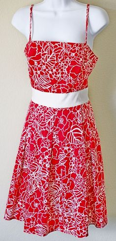 Women's Red White Tied Back Empire Waist Pleated A-Line Floral Strap Sleeve 12  #APNY #EmpireWaist #Casual