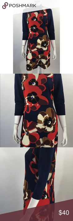 Eci Dress Lg Navy Blue Red Floral Mod Style Retro Eci Womens Dress Size Large Navy Blue Red Floral Mod Style Retro 3/4 Sleeve NEW. Measurements: (in inches) Underarm to underarm: 19 Length: 37 Waist: 34  New with tags. ECI Dresses