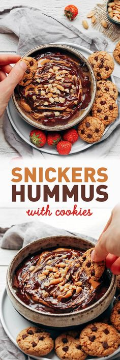 Snickers Hummus with Cookies