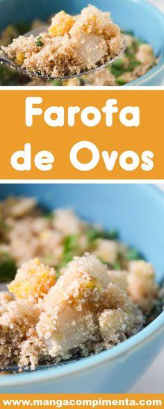 Receita de Farofa de Ovos – um prato barato e super fácil de preparar para a Ceia de Final de Ano. #receitas #farofa #ovos #ceia