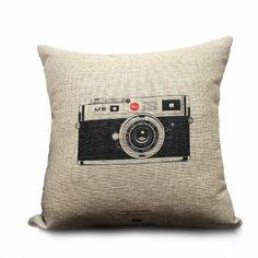 Amazon.com - Ojia Decorative 18 x 18 Inch Cotton Blend Linen Throw Pillow Cover Cushion Case, Vintage cameras - Camera Case Insert