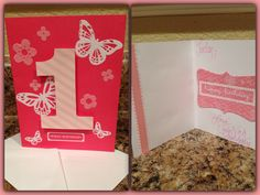 First Birthday card for a girl. I used Martha Stewarts flocking transfer kit for the flowers and butterflies.