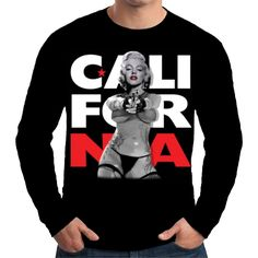 Velocitee Mens Long Sleeve T Shirt Marilyn Monroe California Movie Star W17359 #Velocitee