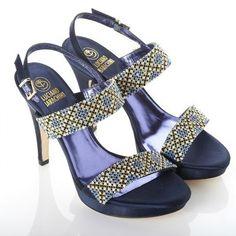 Sandali gioiello blu con tacco