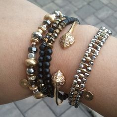 Mixed Metal #SDarmparty with Stella & Dot Moxie Stretch Bracelet, Odeon Stretch Bracelets, Eden Bangle, and Phoebe Bracelet