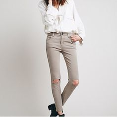 Free People Destroyed Skinny Free people destroyed skinny, super cute and comfortable! Color is called steel.   » Offers through the offer button  » Bundling discounts available  » No trades » NWT Free People Jeans Skinny