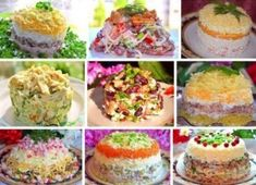 9 recipes for tasty salads (all are simple and fast - Salat Salad Recipes, Dessert Recipes, Yummy Food, Tasty, Russian Recipes, Food To Make, Cooking Recipes, Fast Recipes, Favorite Recipes