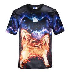 2015 Hot Men's 3D Mountain Wolf  Print O-Neck  Short Sleeve T-Shirt Tokyo Ghoul