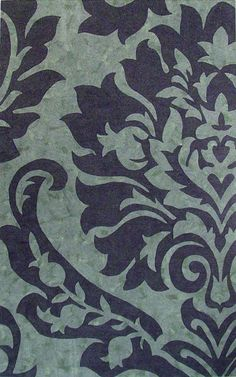 Damask Navy/Green by Liora Manne. Available at RugLots.com