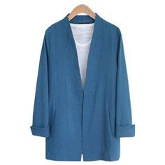 Yoins Plain Blue Color Plugne Coat with Shoulder Pad (€22) ❤ liked on Polyvore featuring outerwear, coats, yoins, blue and blue coat