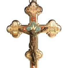 Micro Mosaic Cross Crucifix Four Roman Views and Dove ca. 1880