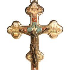 Micro Mosaic Cross Crucifix Four Roman Views and Dove ca. 1880