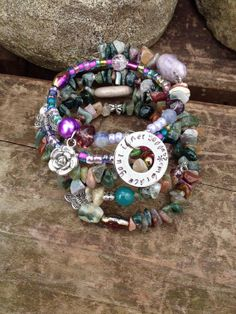 Embrace Your Inner Goddess: five wrap memory wire beaded bracelet with metal stamped charm on Etsy, $40.00