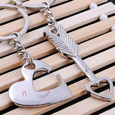 New Arrival 2Pcs/Set Fashion Love You Heart Arrow Couple Keychain Car Key Ring Chain Gift #Affiliate