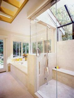 I'd have to live in the middle of no where but..... Daylight floods this master bath, thanks to a glass ceiling over the shower and glass interior partitions. A skylight is centered over the room, partially masked by open grids of maple that are flush with the ceiling. (Photo: Photo: Thomas J. Story; Designer: Gregory P. Evard)