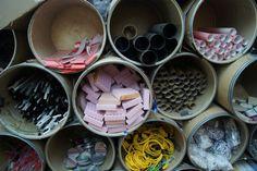 """LOOOVE these cubbies full of recycled """"junk"""" for creating masterpieces! LOOOOOOOOOOOOOOOVVVVVVVVVEEEE!!"""