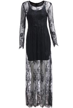 Black Lace Crochet Long Sleeve Maxi Dress
