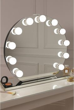 mirror finish Hollywood mirror with eleven frosted bulbs Vanity Room, Vanity Decor, Mirror Vanity, Diy Makeup Mirror, Mirror With Light Bulbs, Lights Around Mirror, Hollywood Mirror, Cute Room Decor, Makeup Rooms